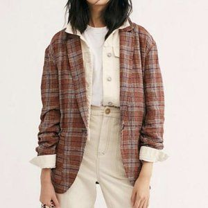 FREE PEOPLE plaid simply slouchy blazer AP15
